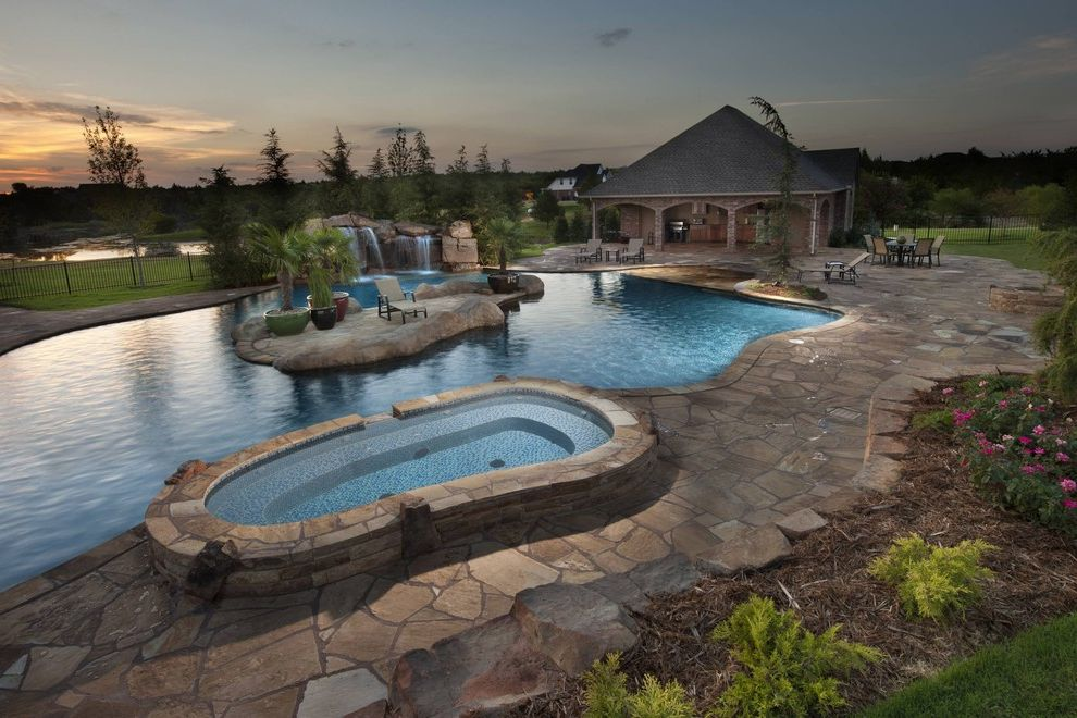 Islander Pools   Tropical Pool  and Caviness Custom Pool Designs Glass Tiles Island in Pool Oklahoma Pool Designs Pools with Waterfalls
