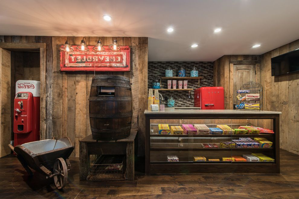 Johnson Creek Theater   Rustic Home Theater  and Drive in Theatre Open Shelving Reclaimed Wood Walls Snack Bar Unique