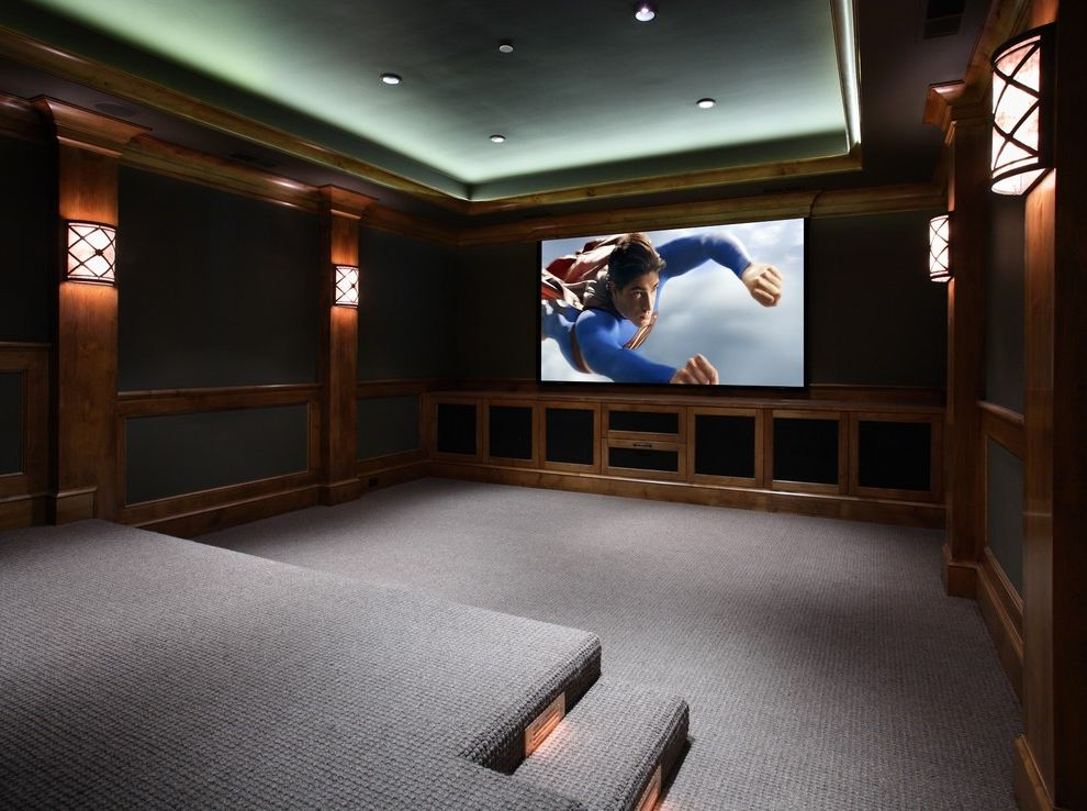 Johnson Creek Theater   Traditional Home Theater Also Media Room Mood Lighting Movie Theater Speakers in Cabinets Wall Sconse