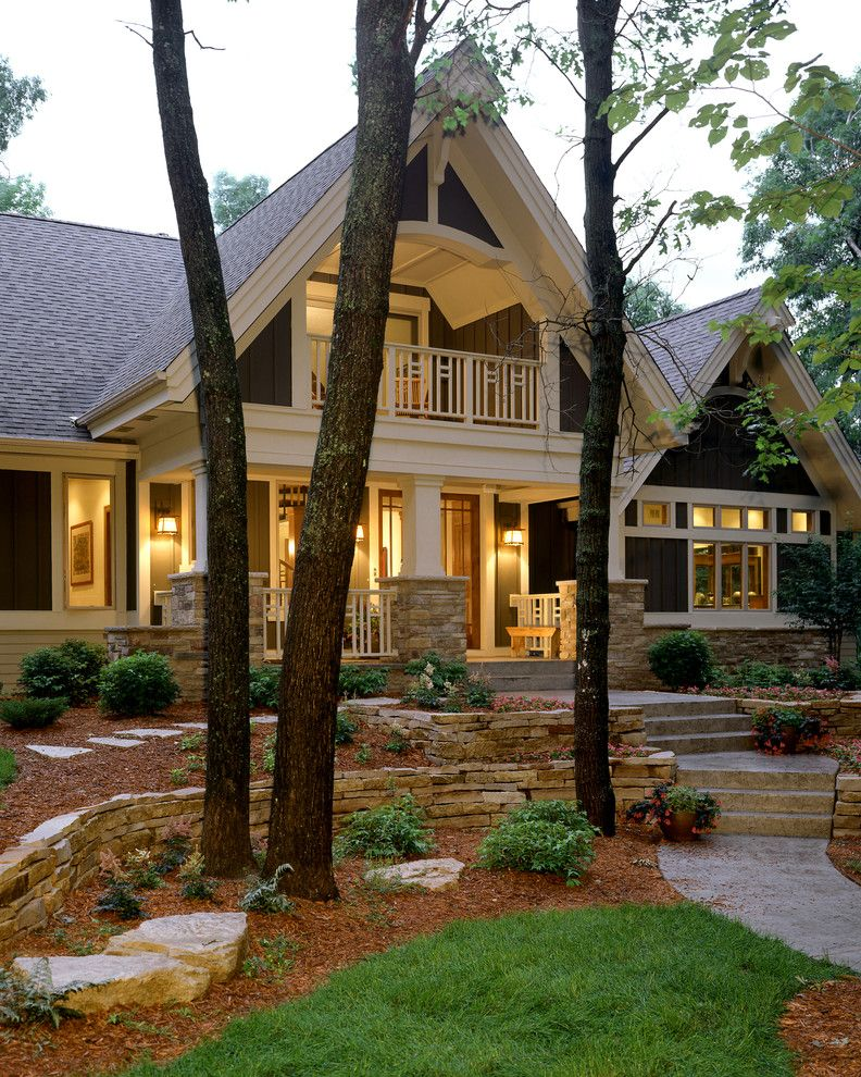 Landscape Companies Near Me with Traditional Exterior Also Balcony Cabin Entry Front Entrance Landscape Path Porch Stacked Stone Stone Stone Wall Tree