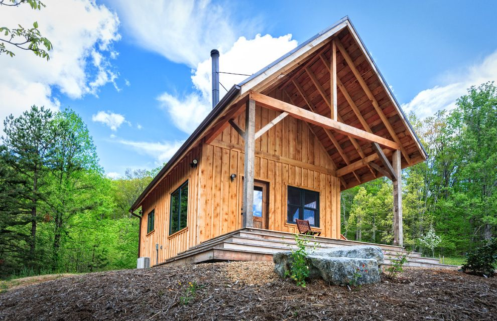Lowes Asheville   Rustic Exterior Also Artisan Asheville Batten Beam Board Board and Batten Cabin Idyllic Mountains North Carolina Peaceful Porch Reclaimed Remote Retirement Rough Sawn Rustic Rustic Cabin Solitude Stove Pipe Vacation Wrap Around