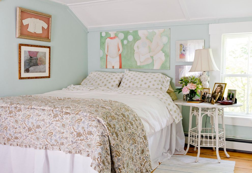Lowes Decatur Tx   Shabby Chic Style Bedroom Also Art Above Bed Framed Art Low Ceiling My Houzz No Headboard Polka Dot Sheets White Ceiling White Side Table White Trim
