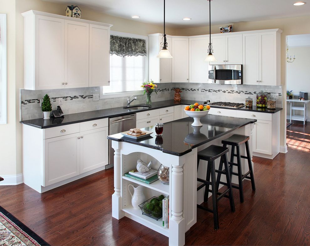 Lowes Eugene   Traditional Kitchen  and Black Black Countertops Cabinet Refacing Countertops Country Cup Pull Island Kitchen Remodel Kitchen Remodeler Kitchen Remodeling Quartz Refacing Remodel Remodeling Shaker Style Traditional White Wood