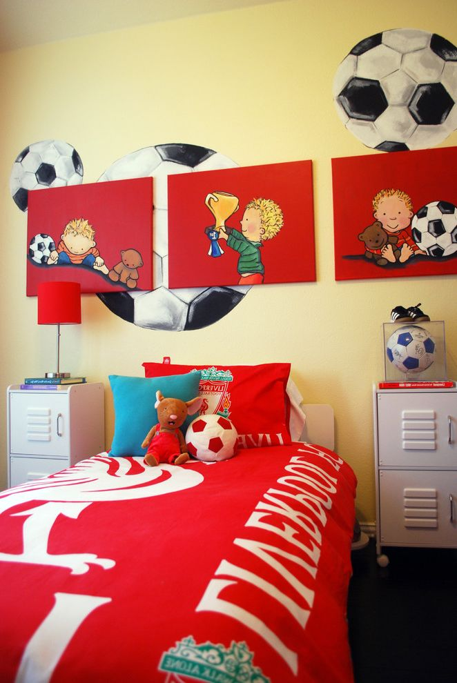 Lowes Eugene with Modern Kids Also Bed Pillows Bedroom Gallery Wall Lockers Red Bedding Soccer Themed Room Toy Storage Wall Art Wall Decor Wall Mural