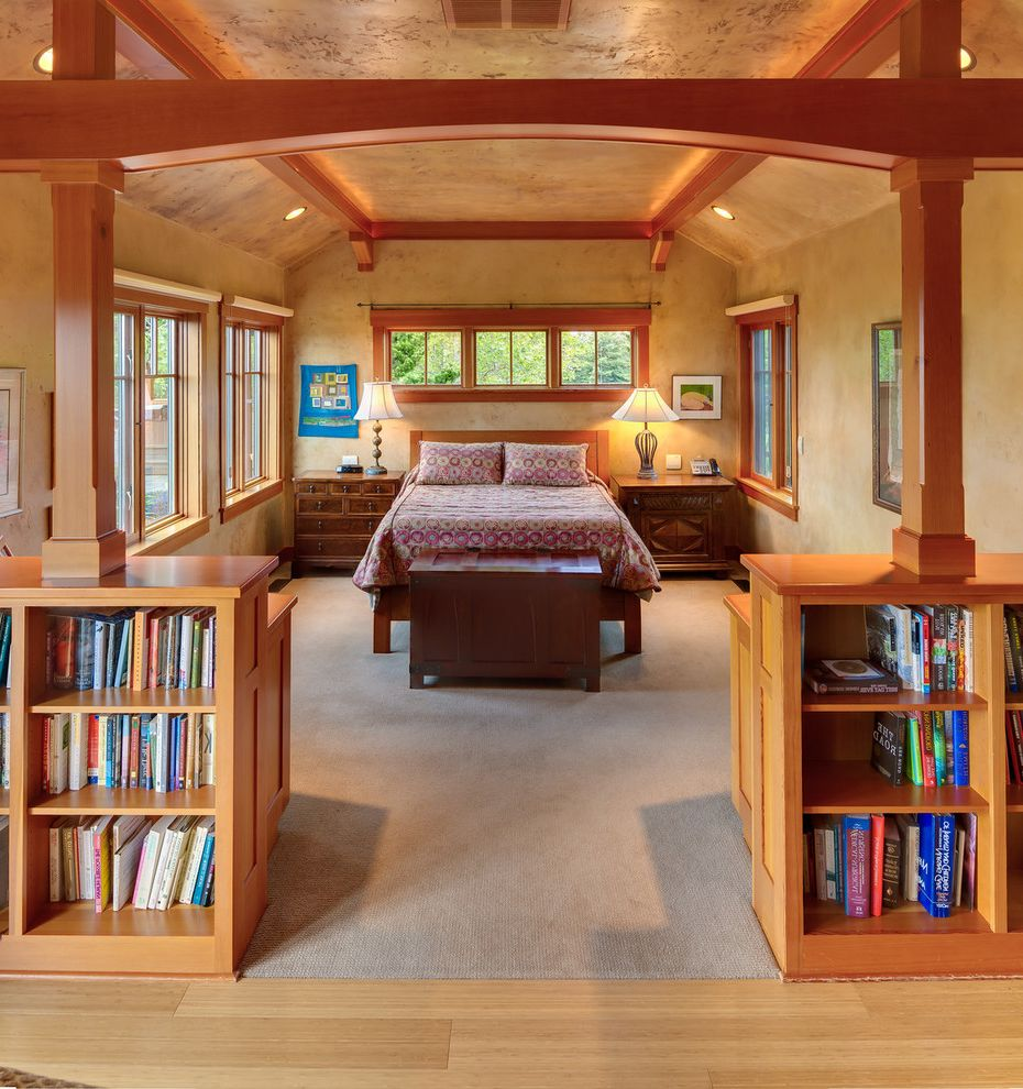 Lowes Eugene with Traditional Bedroom  and Built in Bookshelves Gray Carpet Vaulted Ceiling Wood Beams Wood Bed Frame
