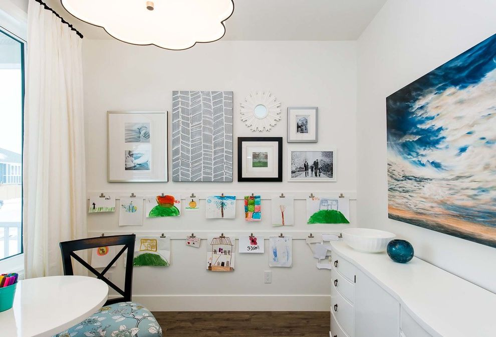 Lowes Eugene with Transitional Kids  and Art Room Artwork Artwork Display Craft Room Gallery Wall Pendant Light White Curtains White Dresser White Table