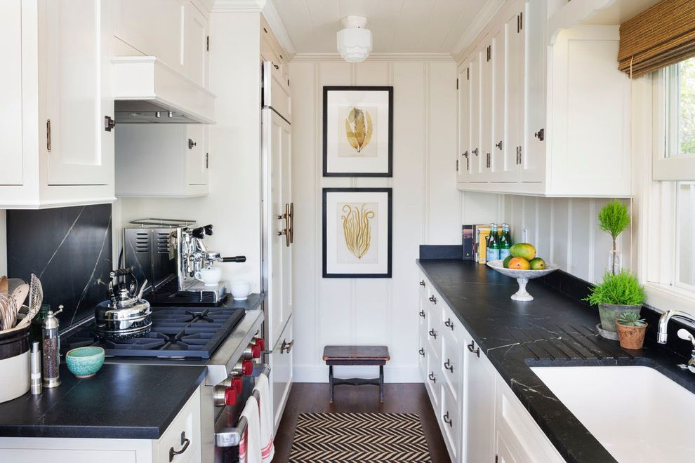 Lowe's Fort Collins   Beach Style Kitchen  and Bamboo Shades Black Countertop Narrow Spaces