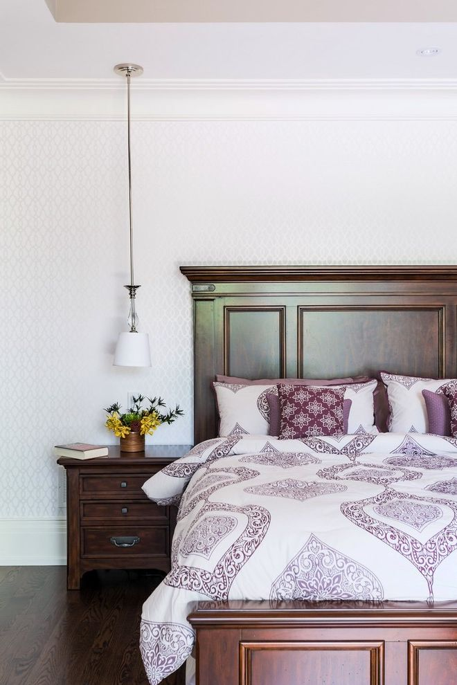 Lowes Moberly Mo with Traditional Bedroom Also Custom Home Dark Wood Bed Dark Wood Floor Dark Wood Headboard Dark Wood Nightstand Low Pendant Light Pendant Light Purple Bedding Purple Patterned Bedding White Trim White Wallpaper