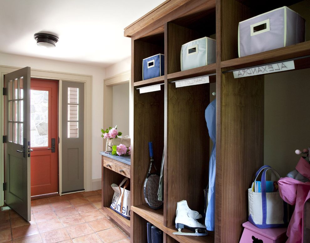 Lowes Salem Nh   Rustic Entry  and Ceiling Light Cubbies Dark Stained Wood Entry Fabric Storage Boxes Front Door Gray Painted Wood Gray Trim Lockers Mudroom Red Screen Door Spanish Tile Tile Floor White Walls