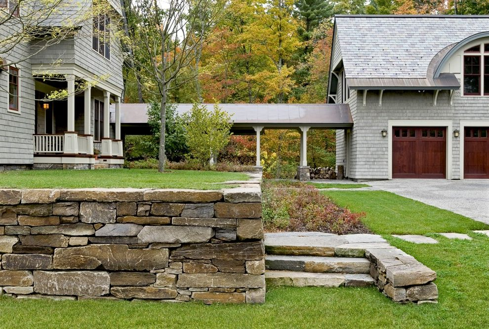 Lowes Salem Nh   Victorian Landscape Also Breezeway Carriage Doors Covered Walkway Driveway Garage Door Grass Lawn Path Pavers Planters Retaining Walls Shingle Siding Stacked Steps Stone Stone Wall Terrace Turf Walkway