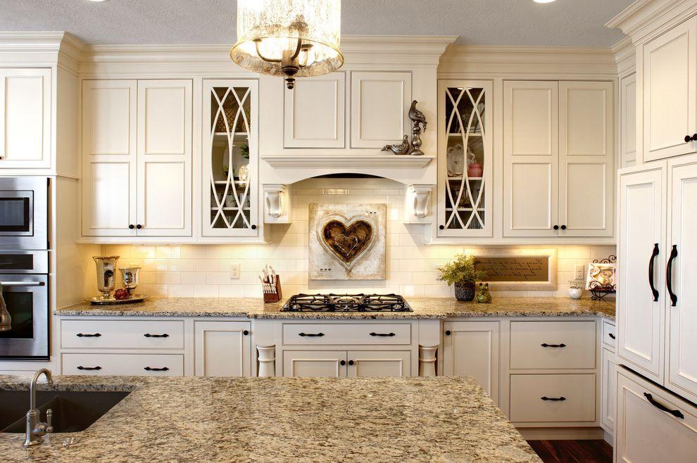 Lowes Salina Ks   Traditional Kitchen  and Corbels Crown Molding Curved Muntins Gas Rangetop Granite Heart Backsplash Low Profile Range Hood Subway Tile Backsplash Wall Oven