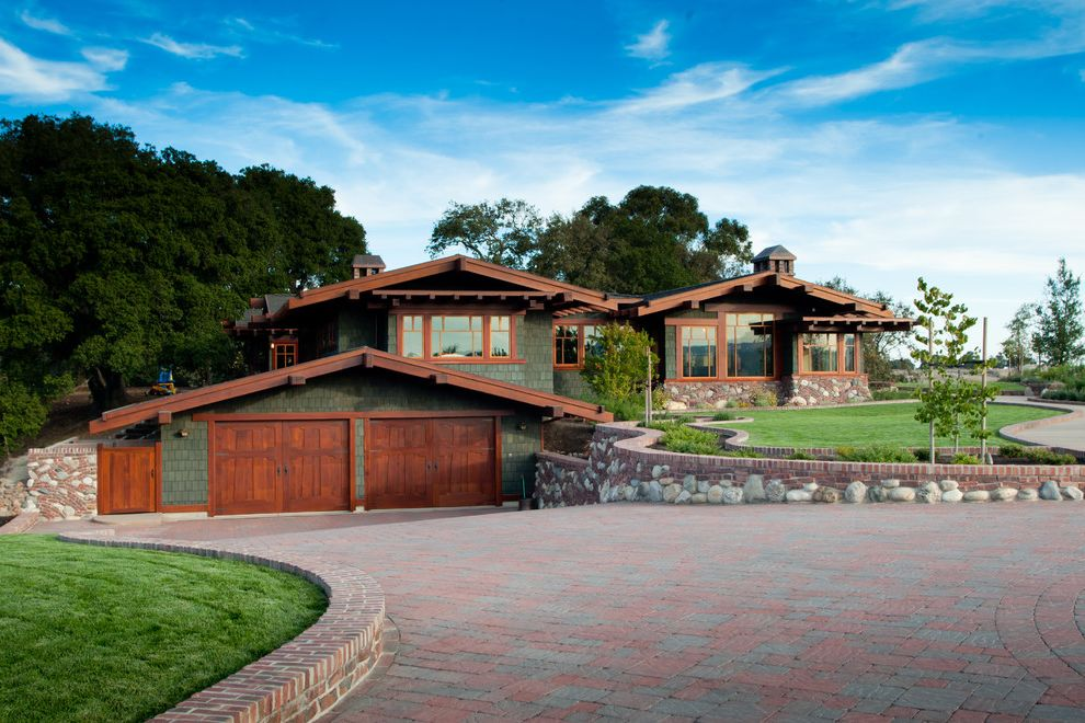 Lowes Simi Valley   Craftsman Exterior Also Boulders Brick Chimney Curving Path Driveway Gable Roof Hillside Lawn Low Retaining Wall Pavers Shingle Siding Stone Timber Wood Trimmed Windows