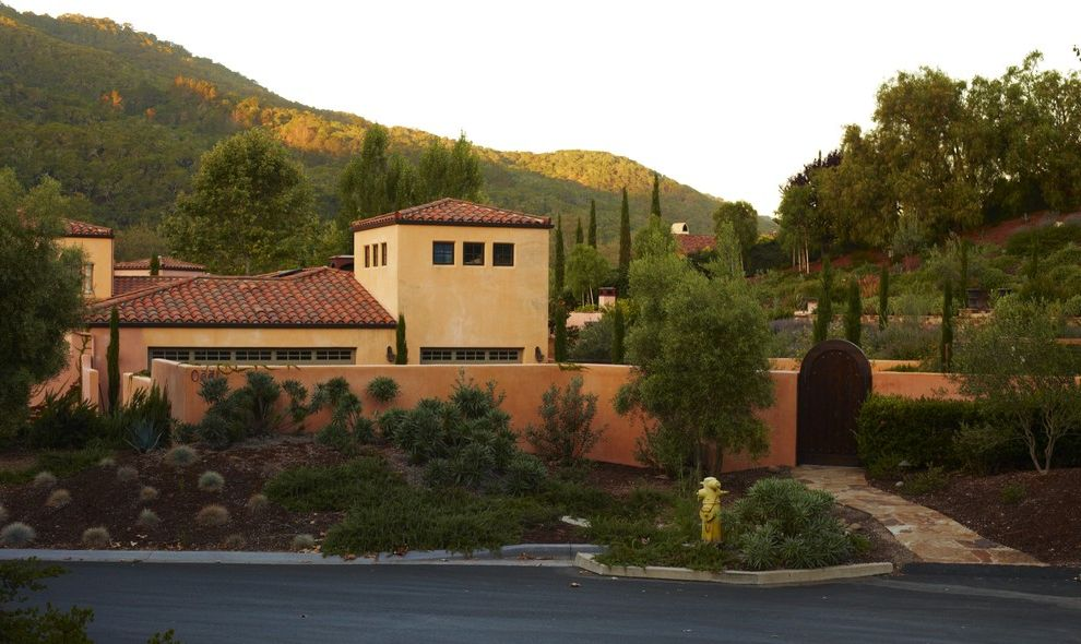 Lowes Simi Valley   Mediterranean Landscape Also Avila California Entry Hillside Low Maintenance Low Water Mediterranean Natives Outdoor Living Path Paver Perennial Planter Regional Slope Stone Terrace Tile Roof Walkway Wall Wooden Gate