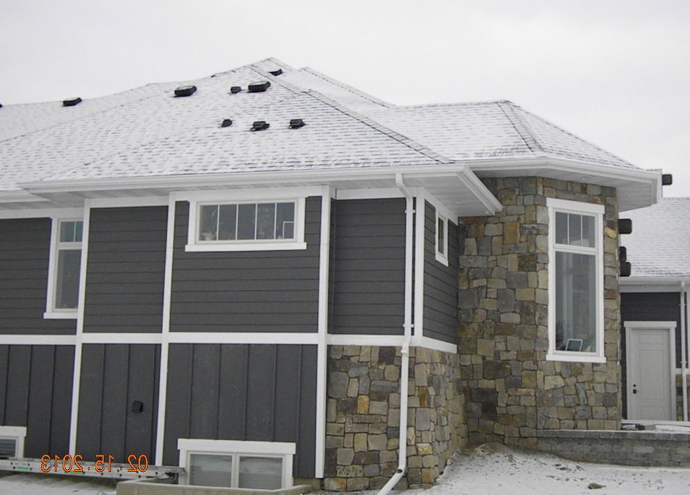 Lp Smart Siding    Exterior  and Board and Batten Gray Gray House Rock White Trim