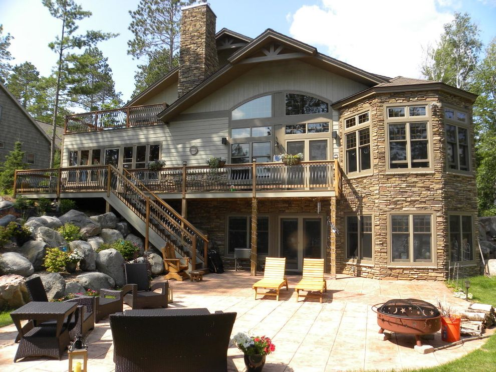Lp Smart Siding   Traditional Exterior  and Landscaping Lp Smartside Octagon Outdoor Spaces Patio Stone Retaining Wall