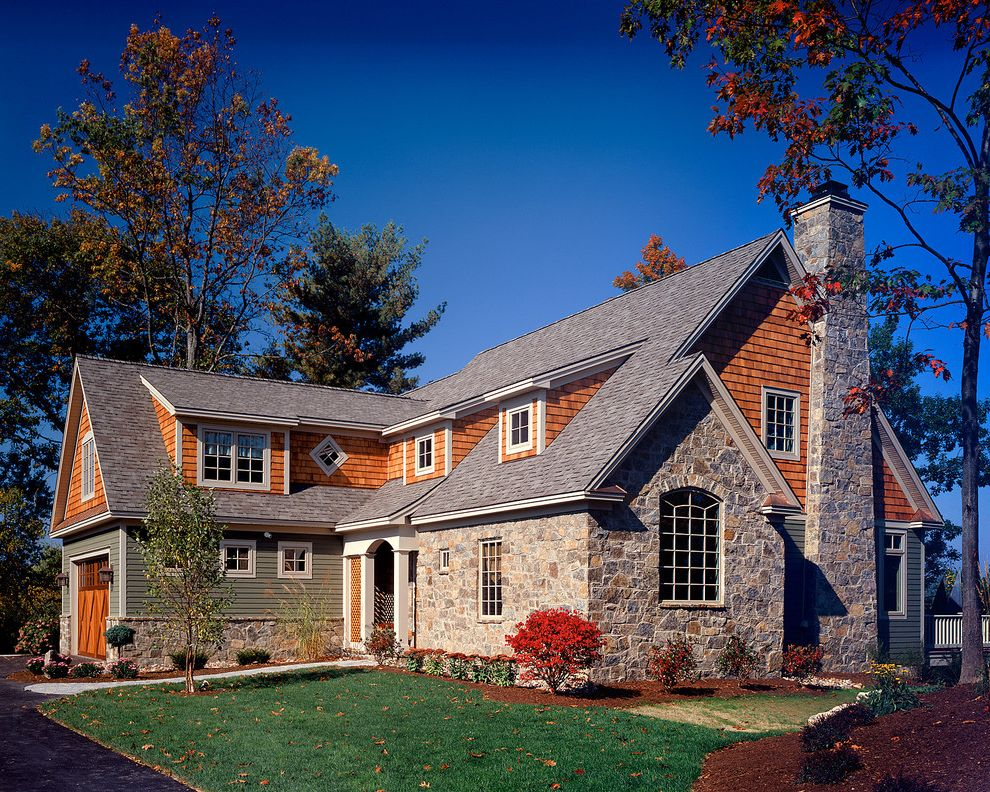 Lp Smart Siding with Traditional Exterior  and Barn Door Dormer Windows Driveway Entrance Entry Garage Door Grass Lawn Path Porch Rock Chimney Rock Wall Shingle Siding Turf Walkway Wood Siding