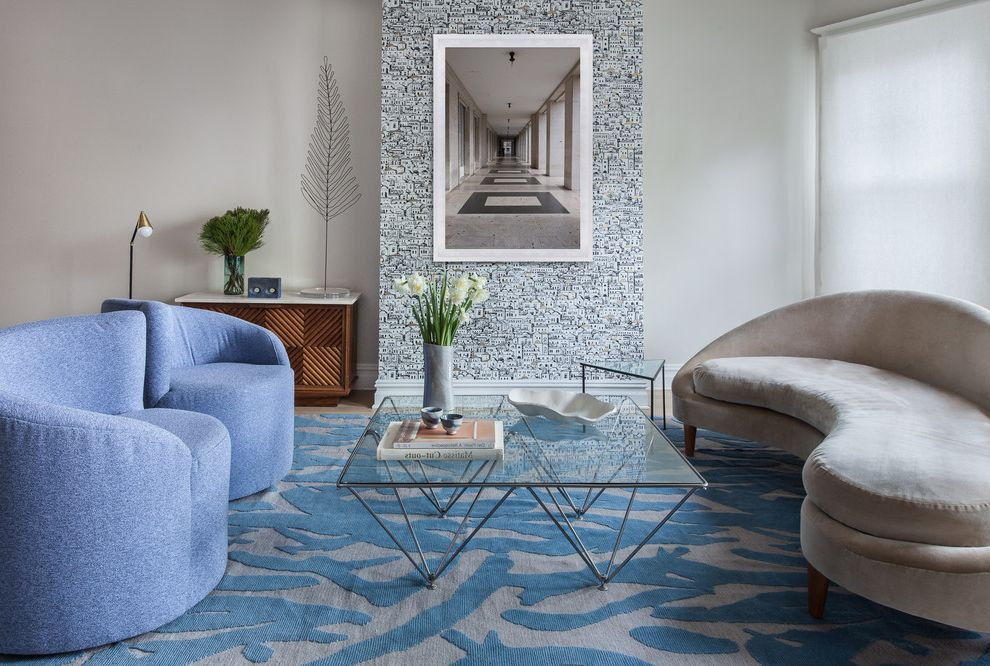 Lucy's Nyc   Contemporary Living Room  and Accent Rug Custom Wallpaper House Midcentury Upholstered Chair White Oak Floors Wire Art Wool Rug