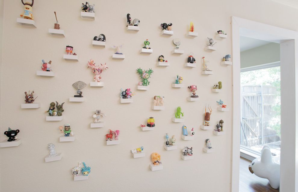 Lucy's Nyc   Eclectic Hall Also Art Wall Bunny Collection Display Eclectic Off White Tiny Shelves Toy Wall Toys White Trim