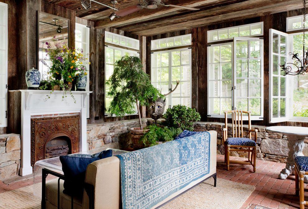 Lucy's Nyc   Farmhouse Sunroom Also Ceiling Fan Chandelier My Houzz Stone Wall Windows Wood Ceiling Wood Wall