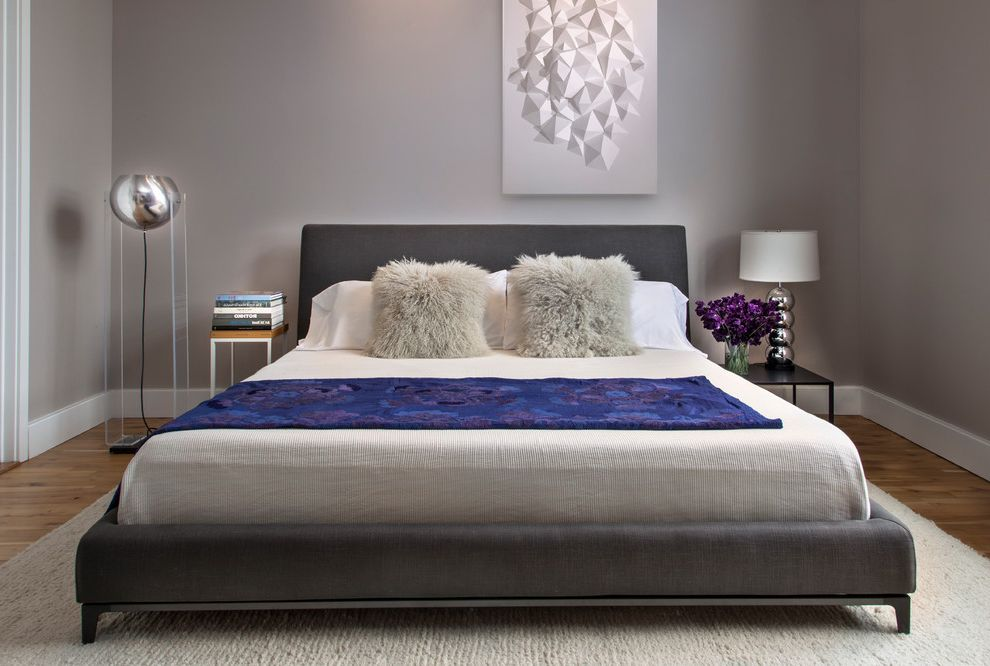 Lucy's Nyc with Contemporary Bedroom Also Dark Grey Bedframe Fuzzy Pillows Grey Walls Light Wood Floor Master Bedroom Modern Bed Shag Rug Short Black Nightstand Silver Ball Lamp White Trim