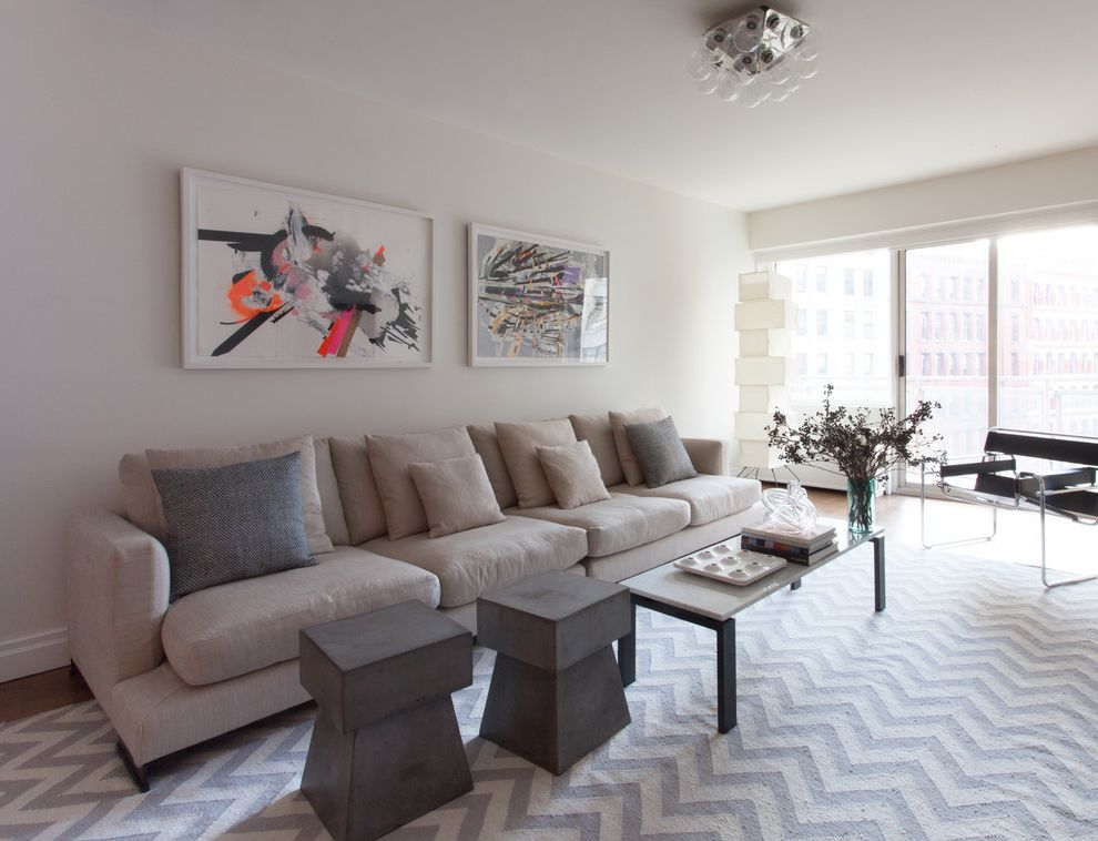 Lucy's Nyc with Contemporary Living Room  and Aoh Design Coffee Table Contemporary Artwork Flos Knoll Light Gray Sofa Long Sofa Muted Color Scheme Noguchi Lamp Urban View Wassily Chair Zig Zag Rug