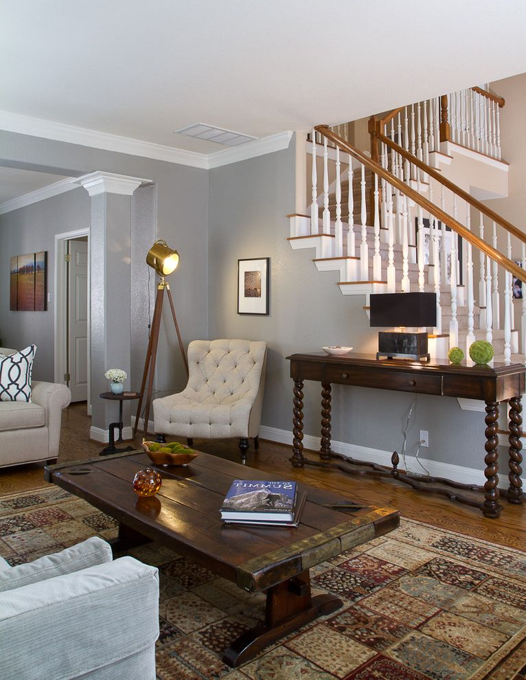 Macys Furniture Store   Traditional Living Room Also Barley Twist Legs Brass Tripod Floor Lamp in Brass and Wood Column Console Table Crown Molding Gray Walls Modern Eclectic Living Room Tufted Chair Unusual Coffee Table White Trim
