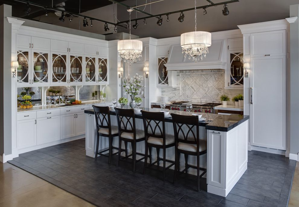 Macys Furniture Store with Traditional Kitchen Also Black Granite Chandeliers Counter Stools Glass Front Cabinets Gray Vaulted Ceiling Island Marble Counters Mirrored Backsplash Tile Back Splash Tile Floor Track Lighting