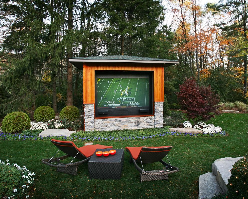 Maple Grove Theater   Contemporary Landscape Also Japanese Maple Large Tv Orange Candles Orange Lounge Chair Outdoor Lounge Chair Outdoor Tv Pansies Side Table Spruce Stacked Stone Tv Pavilion Woven Furniture
