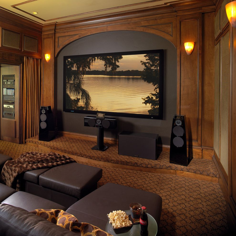 Maple Grove Theater with Traditional Home Theater Also Acoustics Black Speakers Brown Ottoman Brown Sofa Brown Throw Carpet Curtains Home Theater Recessed Lighting Wall Sconces Wood Wall Paneling