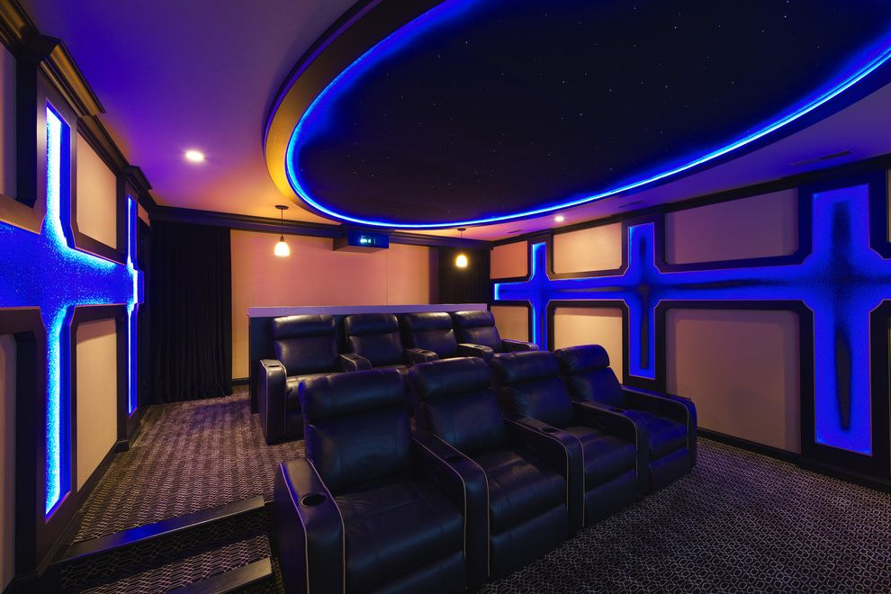 Maple Grove Theater with Traditional Home Theater  and Black Blue Brown Carpeting Cinema Seating Cove Lights Home Theater Leather Armchairs Pin Lights Recessed Lighting Starry Sky Steps Tiered Tray Ceiling Wall Panels