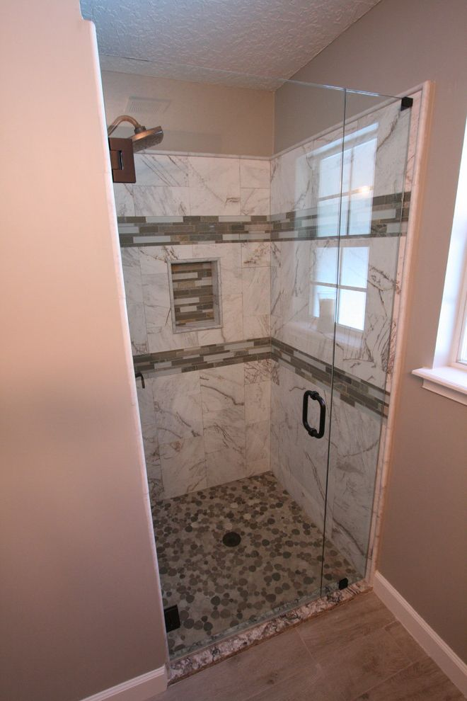 Martins Appliance   Beach Style Spaces Also Frameless Glass Shower Frameless Shower Glass Volakas Marble Wood Look Tile Bath
