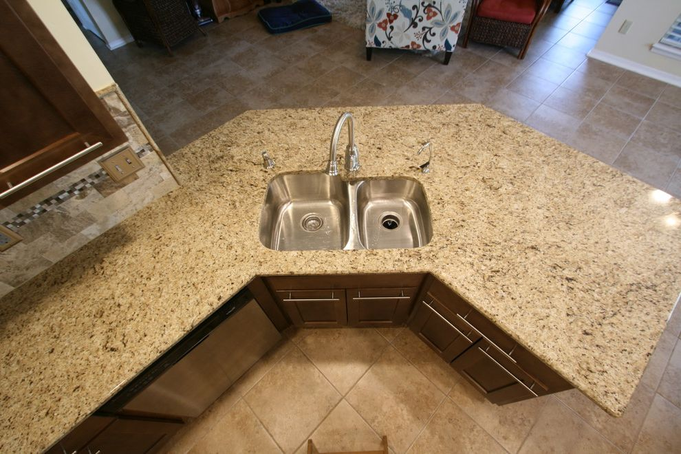 Martins Appliance   Transitional Kitchen  and 4060 Sink Peninsula Santa Cecelia Granite Shaker Style Undermount Stainless Sink Wheres the Seam
