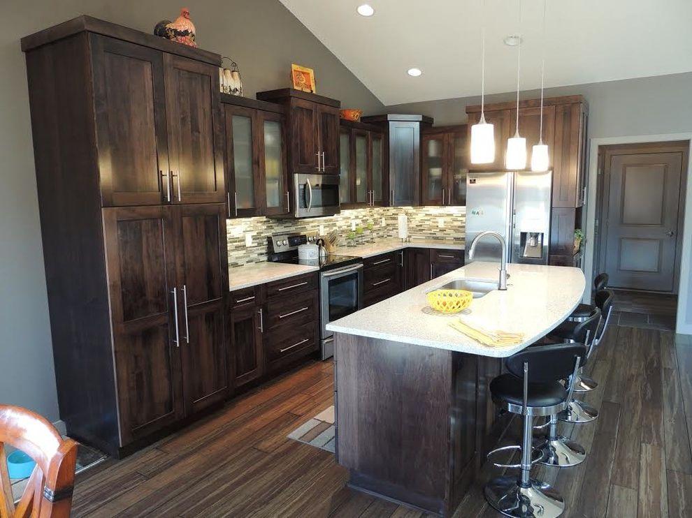 Martins Appliance   Transitional Kitchen  and Barstool Hanging Lights Kitchen Island Tile Tile Backsplash Wood Cabinets