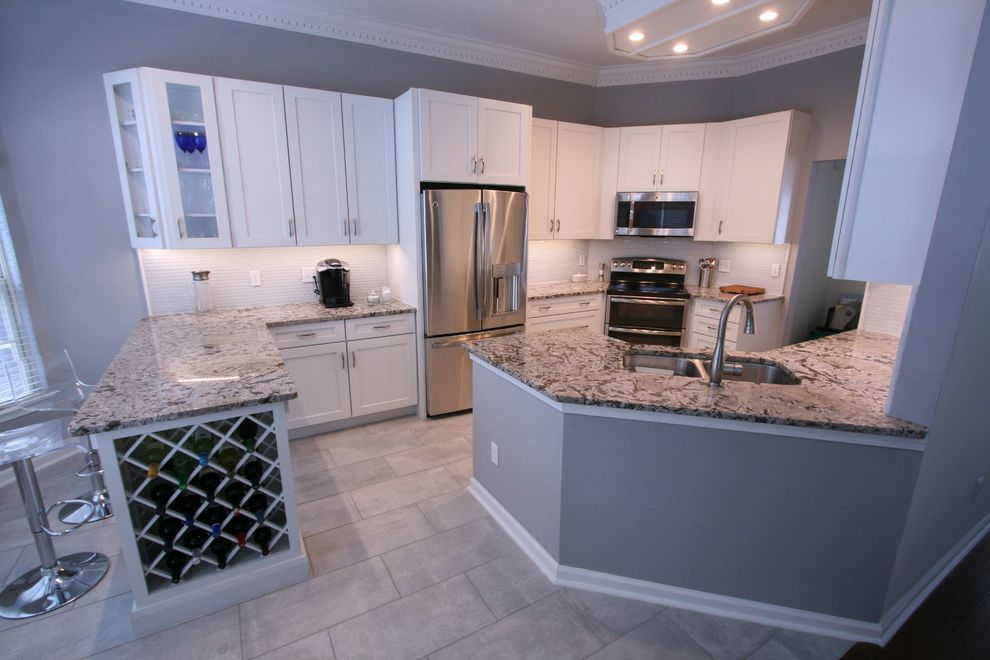 Martins Appliance with Contemporary Kitchen  and Backsplash Glass Tile Bianco Antico Granite Shaker Cabinet White Shaker Cabinets White White Shaker Cabinetry