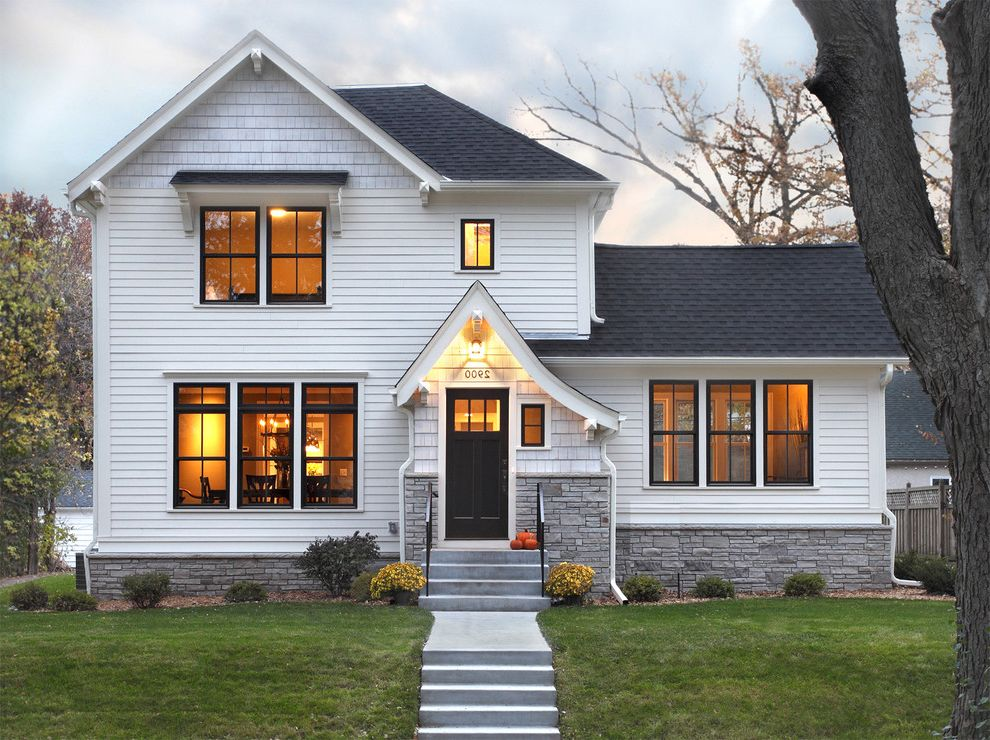 Marvin Windows Reviews with Traditional Exterior  and Dark Trim Dutch Gable Roof Exterior Lighting Fiber Cement Hardie Horizontal Siding Landscape Lawn Shrubs Steps Stone