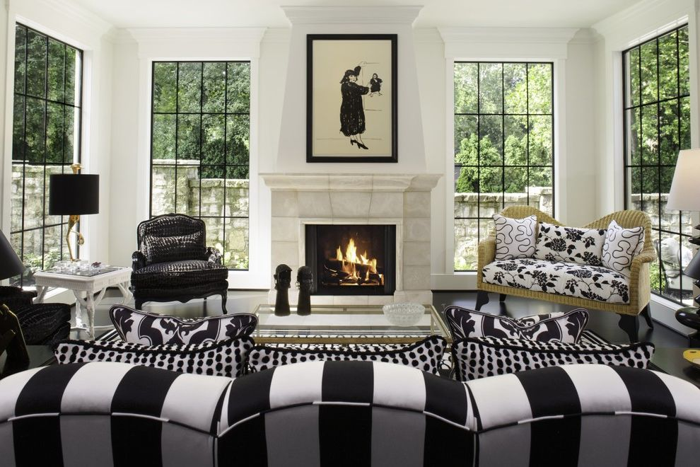 Marvin Windows Reviews with Traditional Living Room  and Artwork Black and White Black and White Striped Couch Contrast Large Windows Stripes Windows