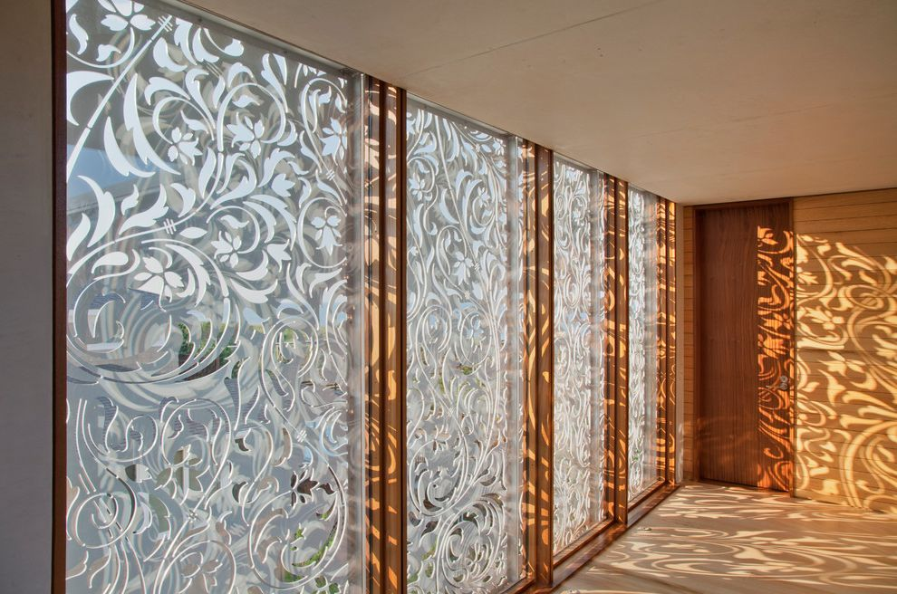 Nouveau Skin Care with Beach Style Hall  and Fretwork Light Metal Screens Modern Hall Ornamental Reflection Shadows Wood Windows