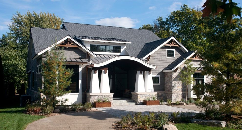 Nouveau Skin Care with Craftsman Exterior Also Circular Driveway Dormers Entrance Entry Front Porch Metal Planters Metal Roof Roofline Tapered Columns White Trim