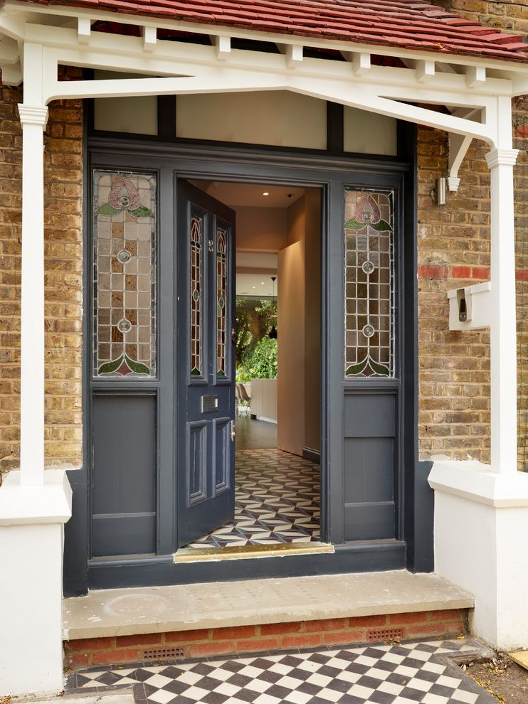 Nouveau Skin Care with Victorian Entry Also B1 B2 B3 Bespoke Bulthaup Bulthaup by Kitchen Architecture Entrance Front Door Grey Front Door Porch Porches Stained Glass Stained Glass Panels