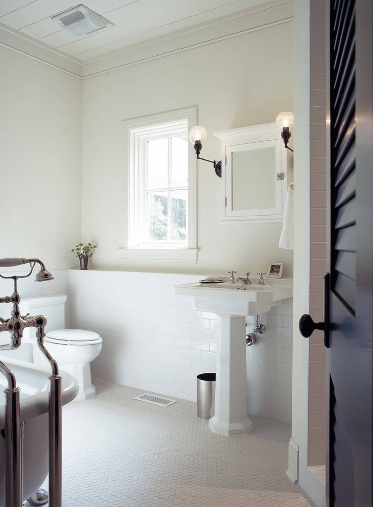 Old Country Tile   Traditional Bathroom Also Bathroom Mirror Bathroom Tile Crown Molding Louvered Doors Medicine Cabinets Pedestal Pedestal Sink Subway Tiles Wainscoting White White Bathroom White Wood Wood Molding Wood Paneling