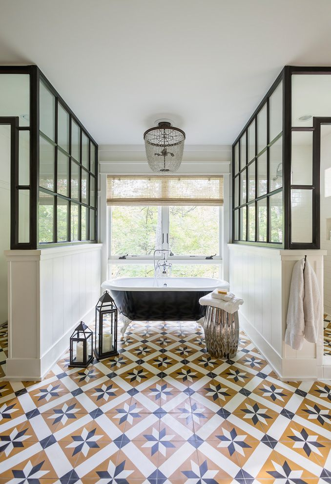 Old Country Tile with Transitional Bathroom Also Accent Table Candles Chandelier Painted Floor Tile Spa Bath Towels Window Over Bath Tub Woven Window Shade