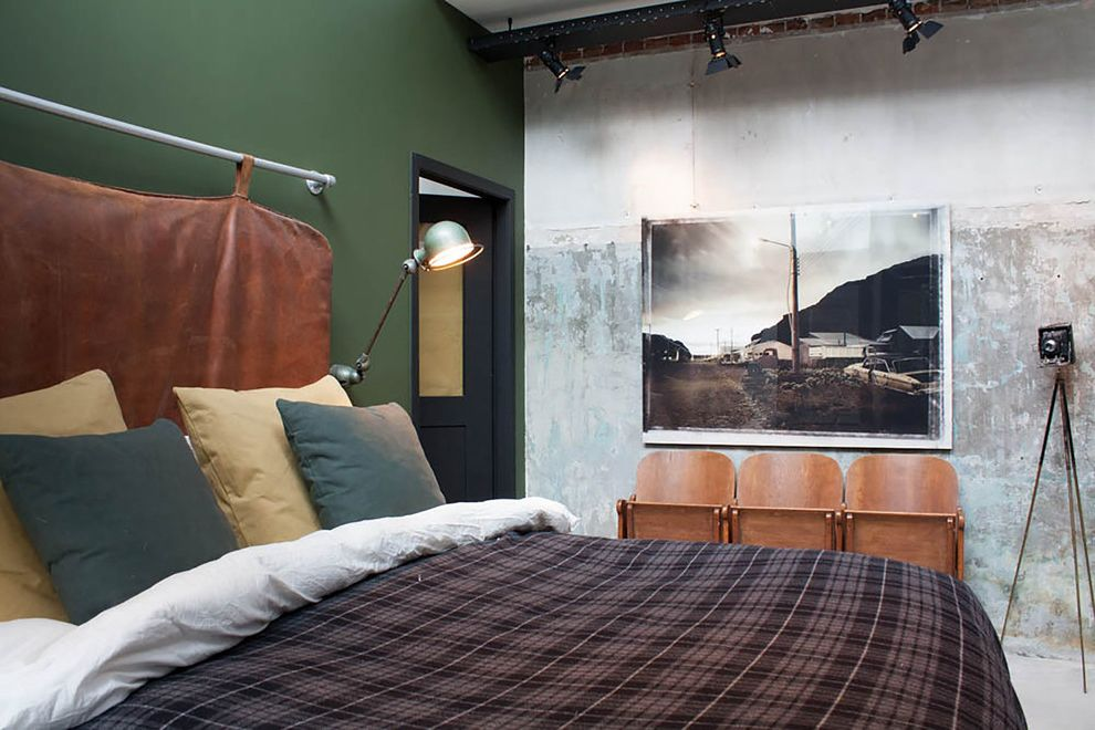 Omega Cinema Props with Industrial Bedroom Also Bachelor Pad Black Track Lights Concrete Wall Converted Garage Doorway Green Wall Masculine Bedding Masculine Color Scheme My Houzz Stadium Seats Track Lighting Wall Art Wall Light Wood Chairs