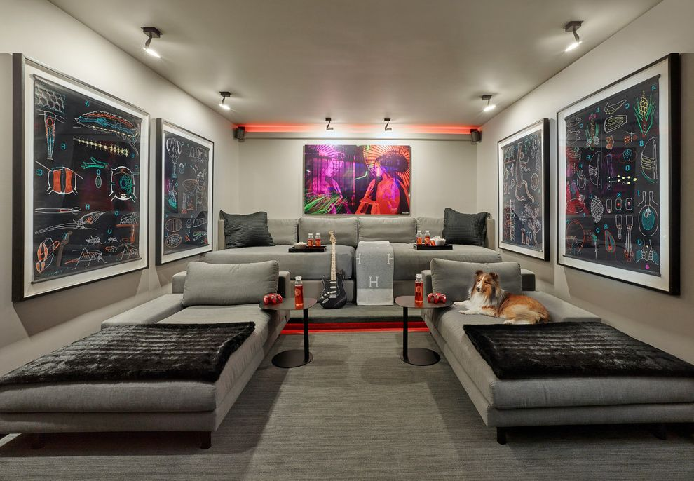 Orland Park Theater   Contemporary Home Theater Also Day Beds and Chaises Fort Lauderdale Gray Grey Large Framed Wall Art Movies Pillows and Throws Side Tables End Tables Sofas South Florida Design Spot Lights Theater Seating