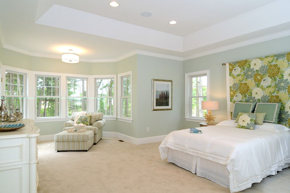 Paint Zoom Reviews   Traditional Bedroom Also Beige Carpet Ceiling Light Floral Headboard Floral Throw Pillow Gray Wall Green Throw Pillow Striped Armchair Striped Ottoman White Bedding White Dresser White Molding White Window Trim Window Wall