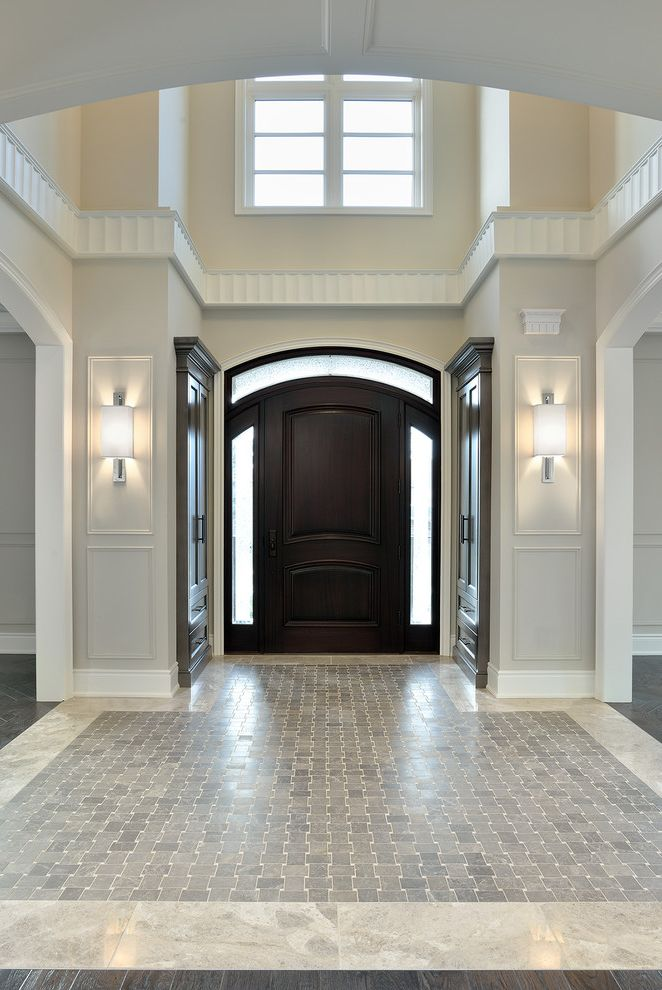 Paint Zoom Reviews   Traditional Entry Also Dark Wood Front Door Front Door Grey Tile Grey Wall High Ceiling Model Home Molding Richmond Hill Entrance Foyer Tiled Floor Wainscoting
