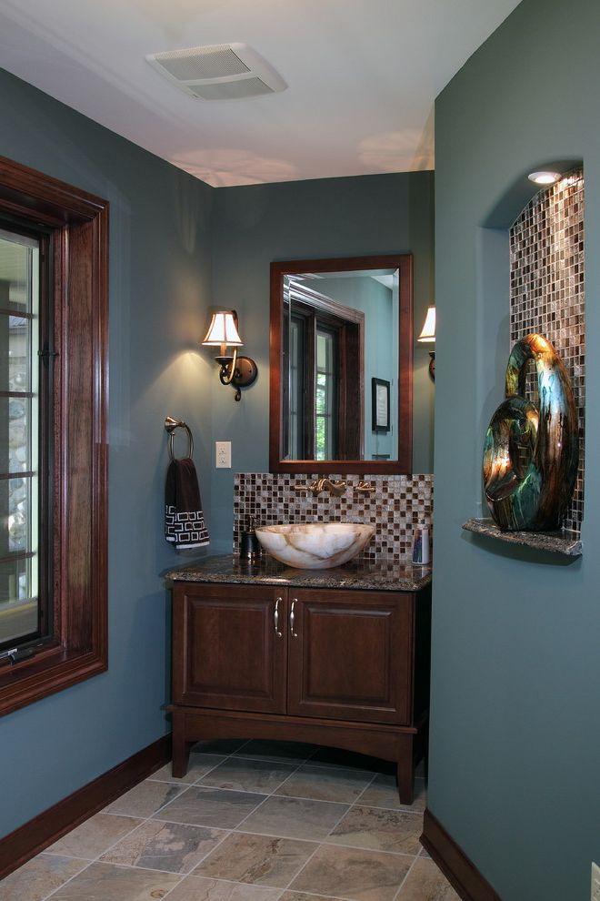 Paint Zoom Reviews   Traditional Powder Room Also Arched Niche Console Vanity Delta Faucet French Gold Furniture Vanity Granite Top Mosaic Tile Backsplash Onyx Sconces Sculpture Slate Floor Teal Walls Tile Niche Towel Ring Vessel Sink