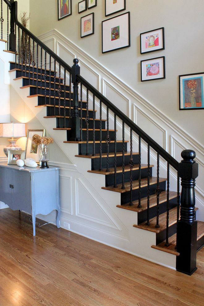 Paint Zoom Reviews   Traditional Staircase Also Framed Art Newel Post Painted Black Risers Turned Newel Turned Spindle Wainscot White Wood Floor