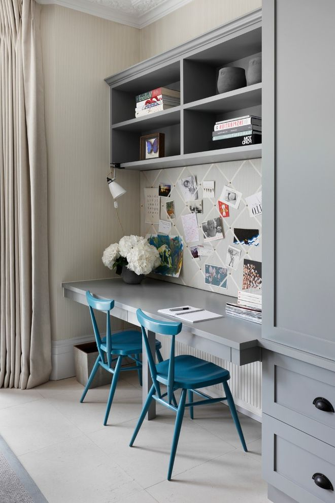 Paint Zoom Reviews   Transitional Home Office  and Blue Accent Chair Built in Tv Unit Gray Bookshelf Gray Built in Shelves Memo Board Painted Furniture Teal Wooden Chair