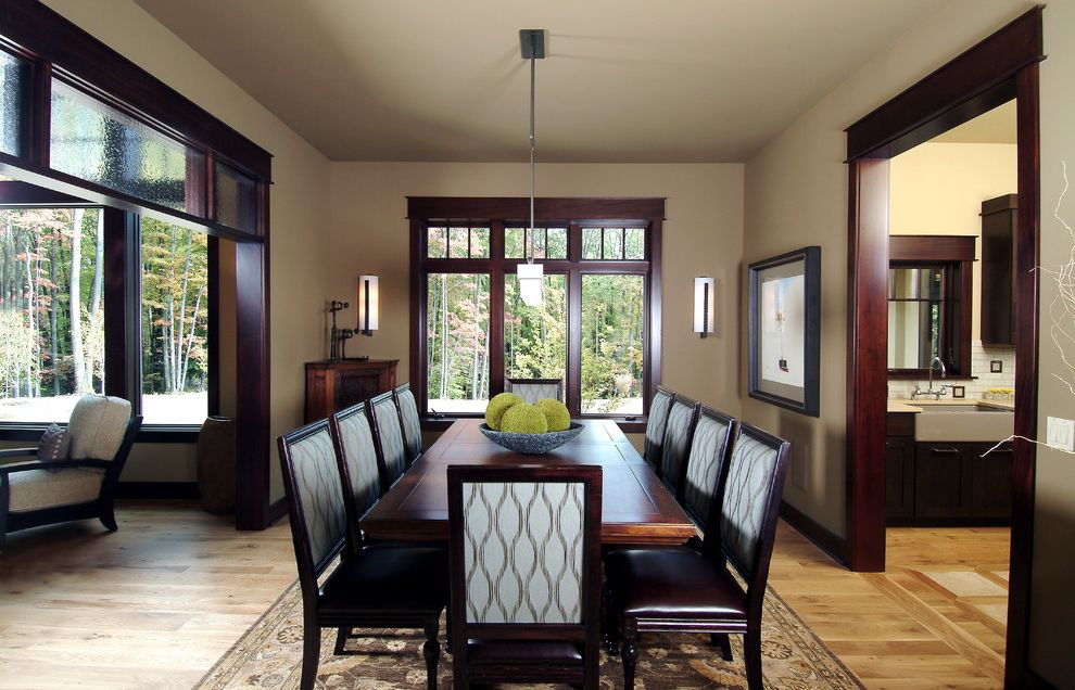 Paint Zoom Reviews with Traditional Dining Room  and Apron Sink Area Rug Dark Stained Wood Trim Dining Table Pendant Light Specialty Glass Tile Back Splash Transom Window Wood Floor