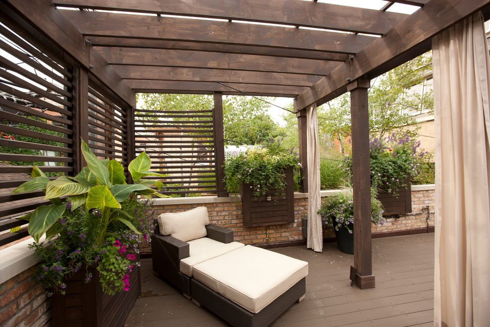 Painting Pressure Treated Wood   Traditional Deck  and Brick Curtains Flowers Outdoor Living Pergola Planters Potted Plants Wicker Chair Wood
